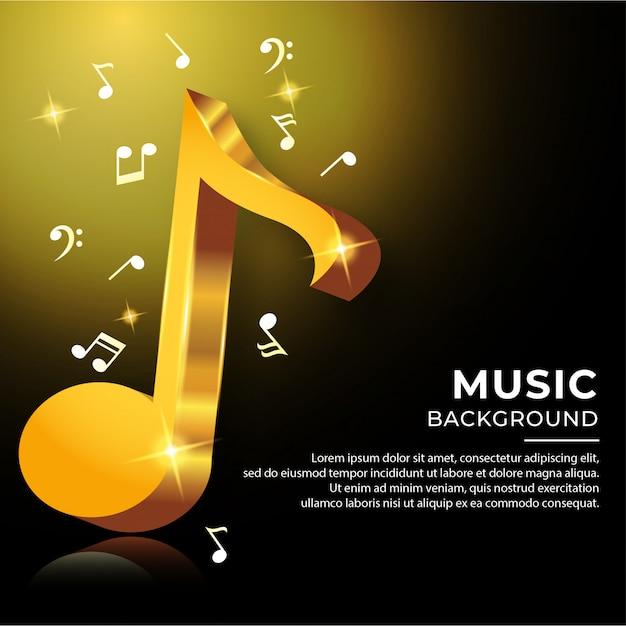 金色の3dスタイルのノート音楽コード Premiumベクター
