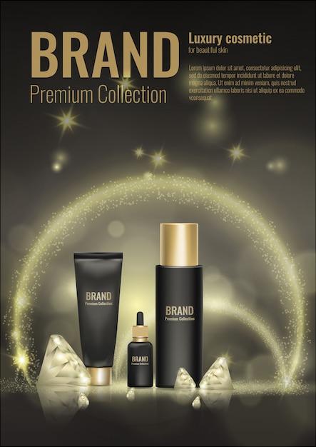 Косметический крем реалистичные шаблон продукта пакет золото 3d алмаз рекламной иллюстрации. Premium векторы
