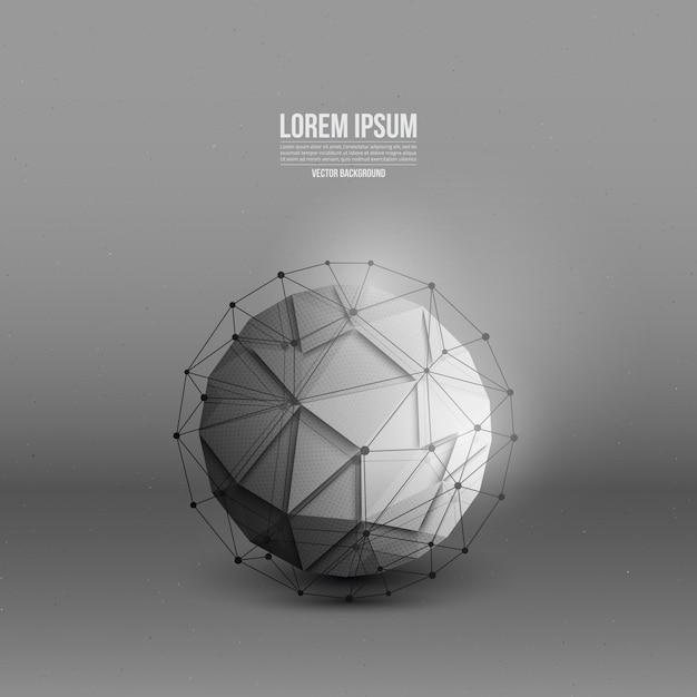 Абстрактный 3d вектор технологии шар с каркасной структурой фона Premium векторы