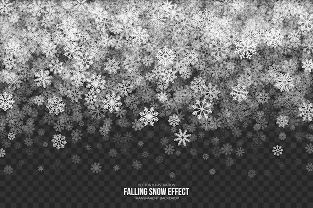 Падающий снег 3d эффект прозрачный Premium векторы