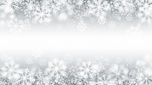 Зимний сезон падающий снег граница 3d-эффект Premium векторы