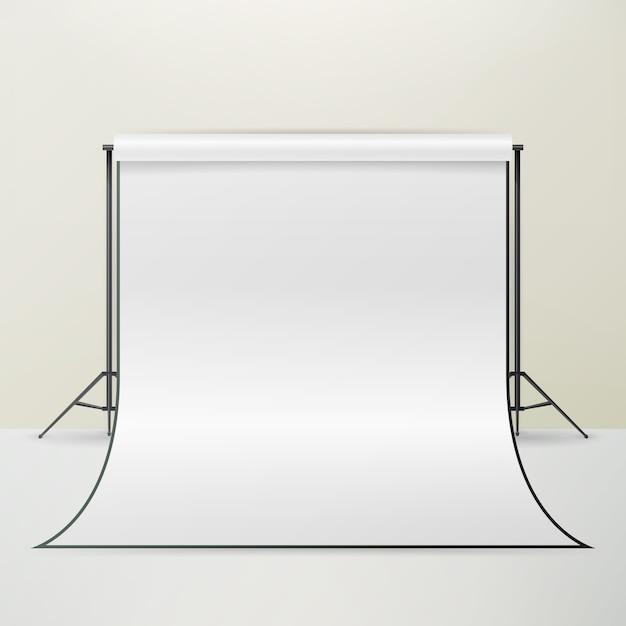 Пустой 3d фотостудия интерьер вектор. реалистичная фотограф квартиры иллюстрации. Premium векторы