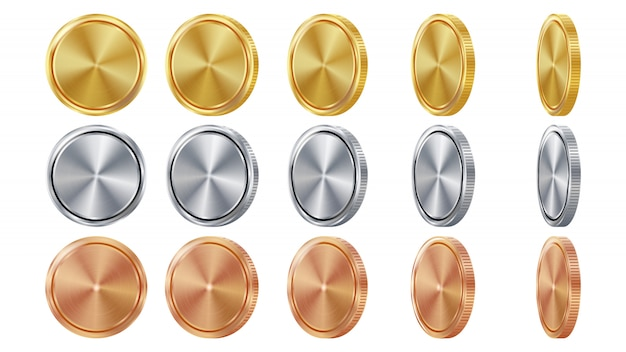 空の3dゴールド、シルバー、ブロンズコイン Premiumベクター