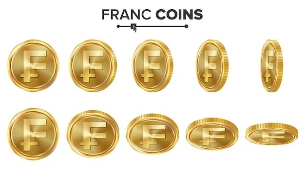 Франк 3d золотые монеты Premium векторы