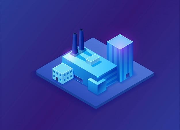 Изометрическая 3d фабрика, синий неоновый светящийся завод Premium векторы