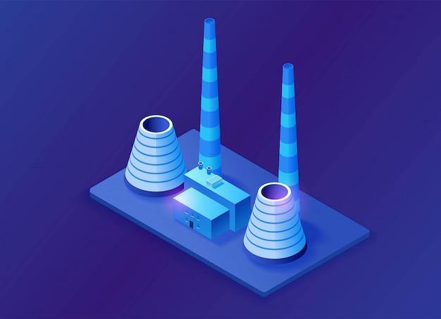 Тепловая электростанция 3d изометрические иллюстрация Premium векторы