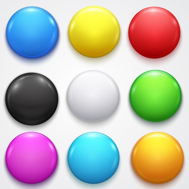 Реалистичные 3d пустой цвет пустой круг кнопки значок булавки набор элементов передней стороны презентации и рекламы в розницу. Premium векторы