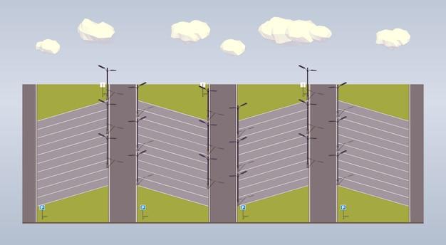 3d低ポリ等尺性駐車場 Premiumベクター