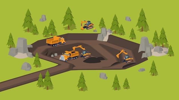 3d低ポリ等尺性採石場発掘サイト Premiumベクター