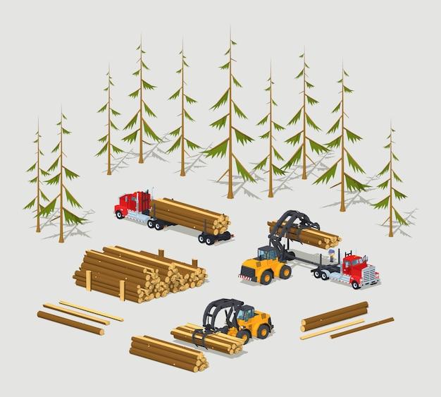 3d低ポリ等尺性木材ストック Premiumベクター