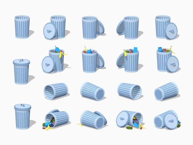 3d低ポリ等尺性ゴミ箱のセット Premiumベクター