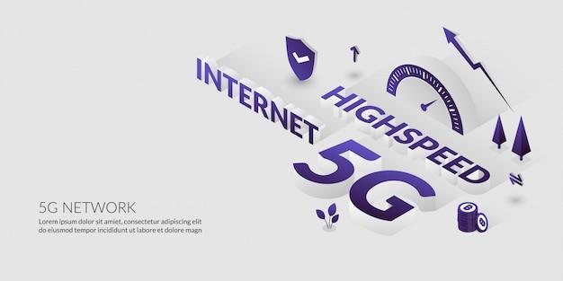 ネットワーク接続、3dテキストによる超高速インターネット技術 Premiumベクター