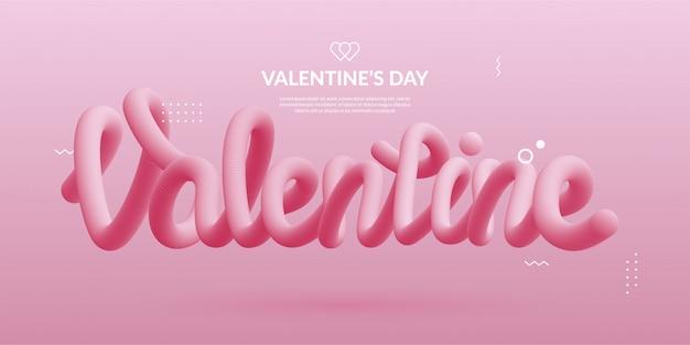 バレンタインデーの3dテキスト、波状の流れる液体 Premiumベクター