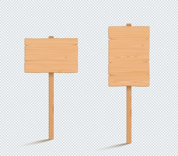 Деревянный знак равнина пустые 3d векторные иллюстрации Premium векторы