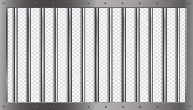 3dスタイルの金属フレーム付きの刑務所格子またはバー Premiumベクター