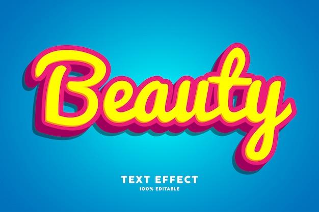Красота 3d-эффект красного желтого шрифта Premium векторы