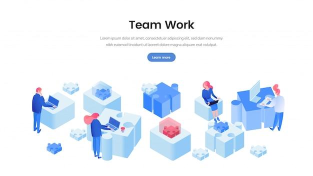 Работа в команде веб-баннер 3d шаблон Premium векторы