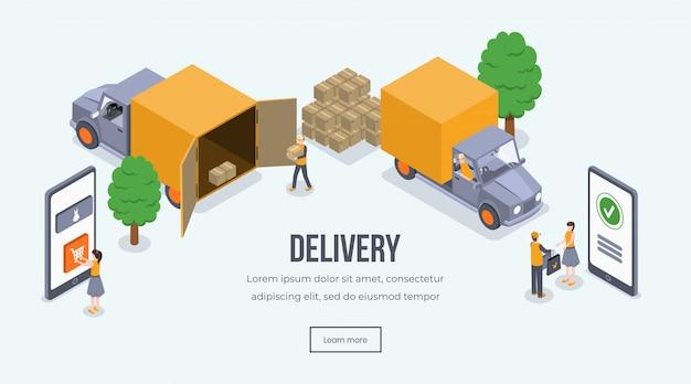 Интернет-магазин, доставка, грузовик. транспортное средство доставки, курьер, давая посылку клиенту 3d концепции Premium векторы