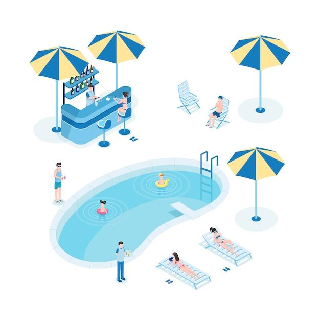 Летний отдых возле бассейна изометрические векторные иллюстрации. туристы с детьми, сотрудники отеля 3d герои мультфильмов. маленькие дети плавают, женщины загорают, официант держит поднос с коктейлями Premium векторы