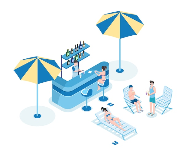 プールバー等尺性ベクトル図の人々。店主、ビキニの女性、夏服の男性3dの漫画のキャラクター Premiumベクター