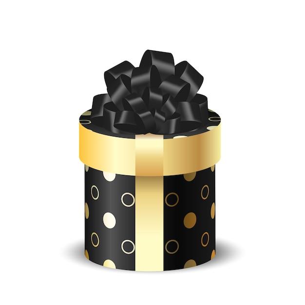Круглая упаковочная коробка 3d черная с золотом Premium векторы