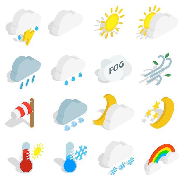 天気アイコンは、白い背景で隔離の等角投影の3dスタイルに設定します。ベクトルイラスト Premiumベクター