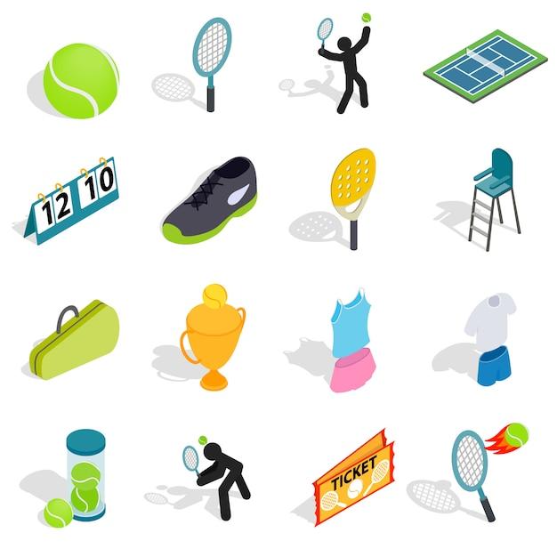 テニスのアイコンは、等角投影の3dスタイルに設定します。テニスの属性設定コレクションのベクトル図 Premiumベクター