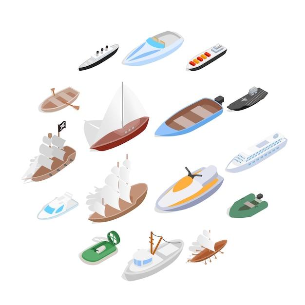 Набор иконок кораблей и лодок, изометрическая 3d стиль Premium векторы