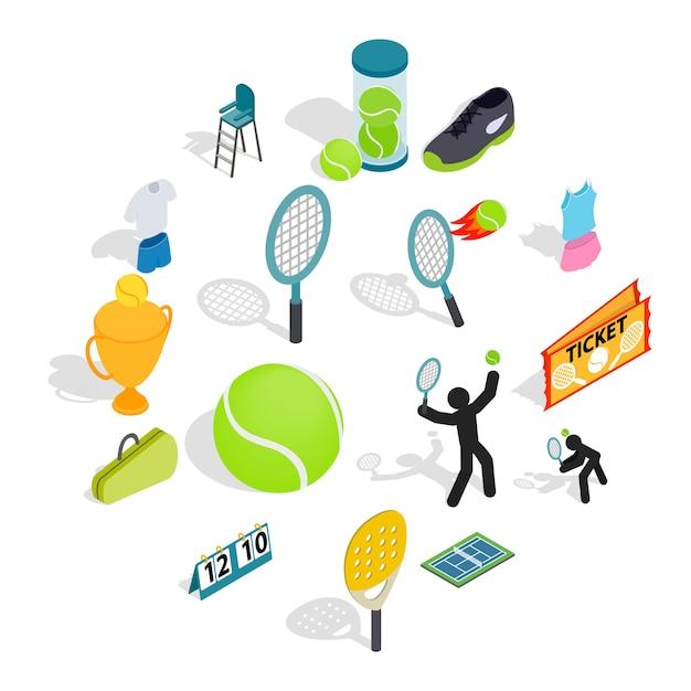 テニスのアイコンを等角投影の3dスタイルに設定 Premiumベクター