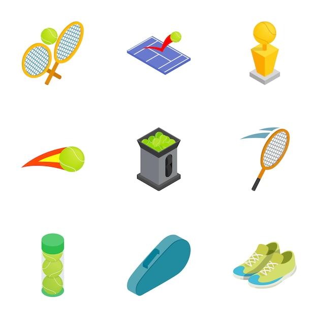 Набор иконок атрибуты тенниса, изометрическая 3d стиль Premium векторы