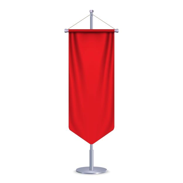 Пустой 3d флаг длинный вымпел. иллюстрация Premium векторы