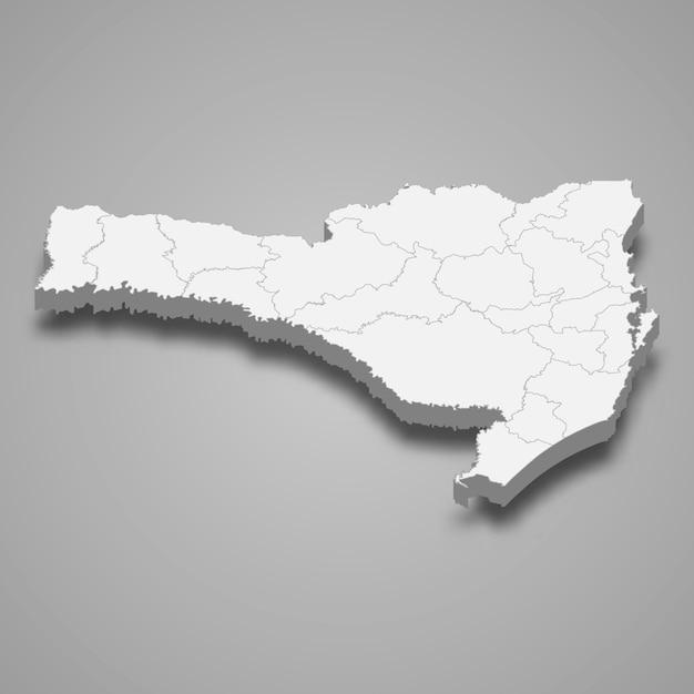 3d карта состояния бразилия Premium векторы