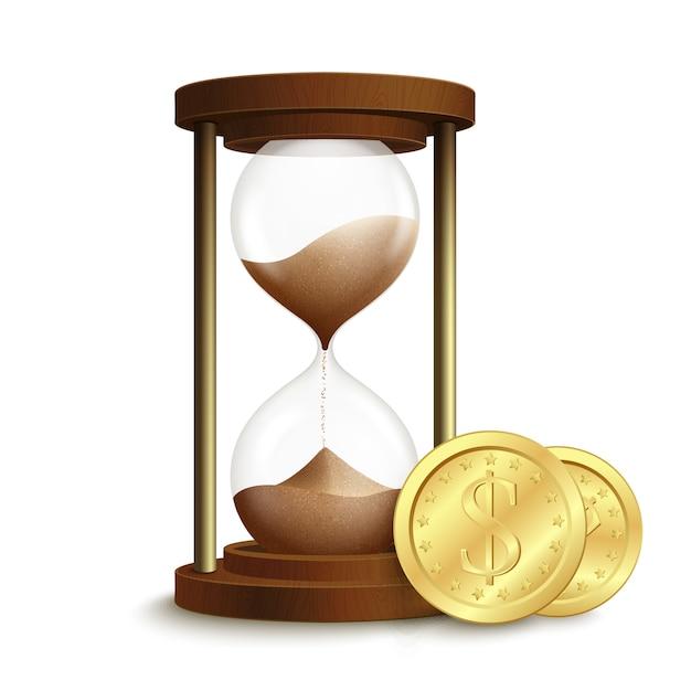 Реалистичные 3d песочные часы песочные часы с эмблемой деньги монеты доллар изолированных векторные иллюстрации Premium векторы