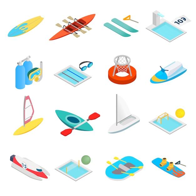 Установить водные виды спорта изометрическая 3d иконки Premium векторы