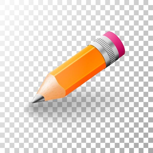 Реалистичные простые 3d графитный карандаш. Premium векторы