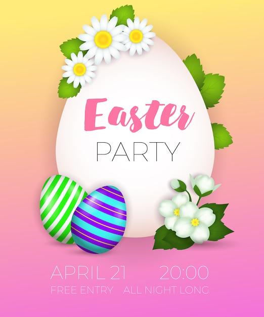 イースターパーティー、4月20日最初のレタリング、装飾卵 無料ベクター