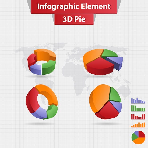 4つの異なるインフォグラフィック要素3d円グラフ Premiumベクター