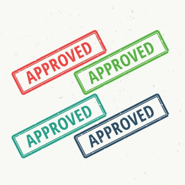 4 approved seals Free Vector