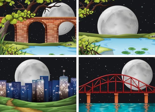 満月の夜の街の4つのシーンbackgorundセット 無料ベクター