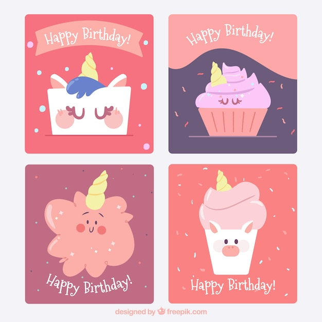 4 Birthday Cards With Funny Unicorns Vector