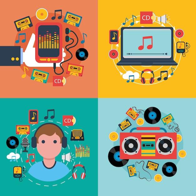 タブレット携帯音楽アプリコンセプト4フラットアイコンコンポジションcdカセットプレーヤー 無料ベクター