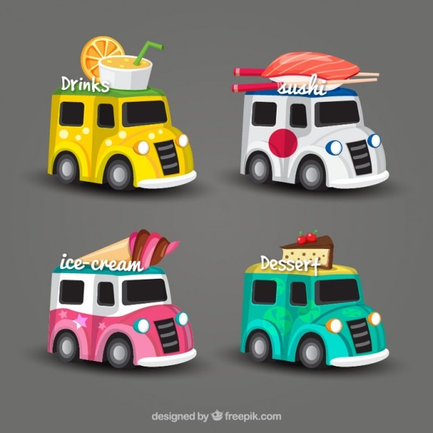 4 Different Food Truck Design Free Vector