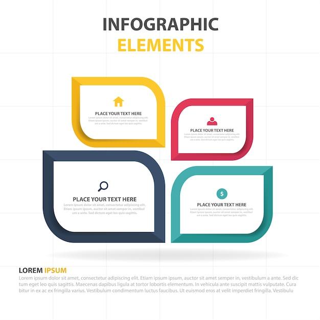 Fogliame colorato astratto modello di infographic aziendale Vettore gratuito