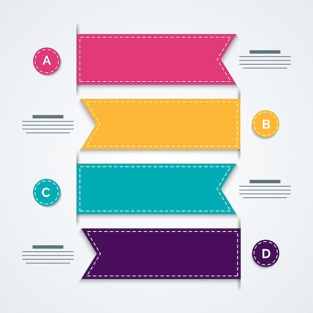 4つのステップでカラフルなタイムラインinfographicsレイアウト。 Premiumベクター