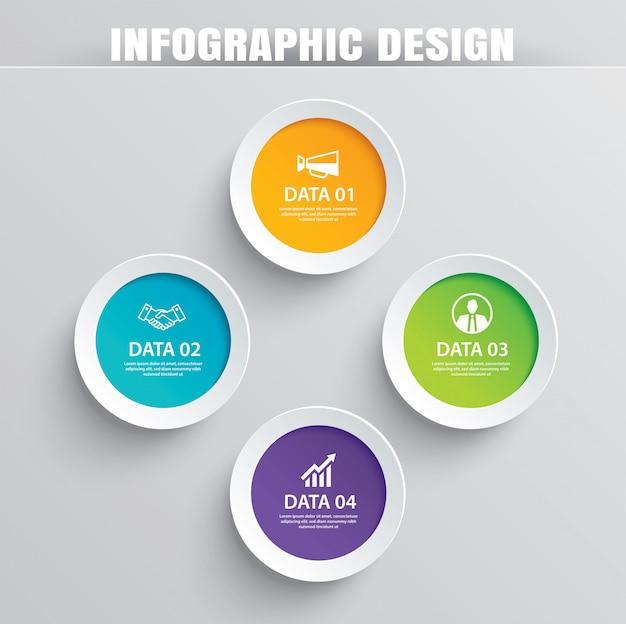 4データテンプレートを使用したinfographicsサークル用紙。 Premiumベクター