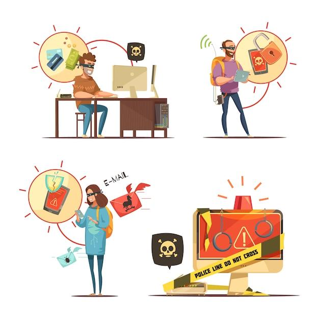 銀行口座やモバイルデバイスを壊すハッカーが犯罪4レトロ漫画アイコン組成isoにアクセスします。 無料ベクター