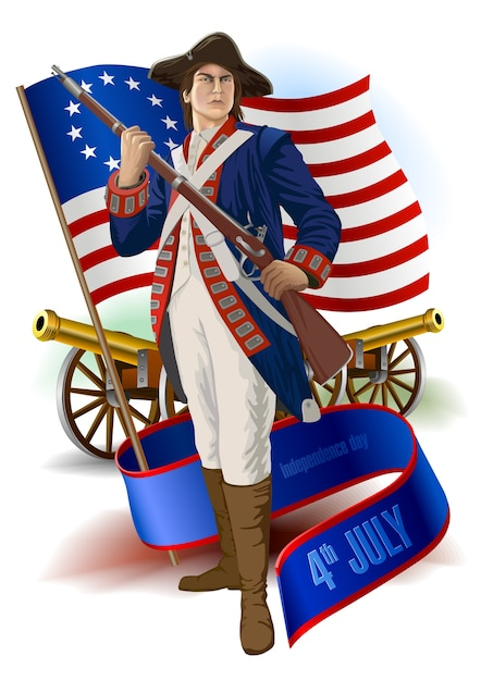 アメリカの4月7日独立記念日:兵士、旗、リボンバナー Premiumベクター