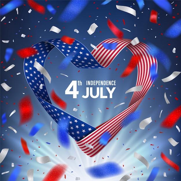 4 июля день соединенных штатов америки с флагом в форме сердца Premium векторы