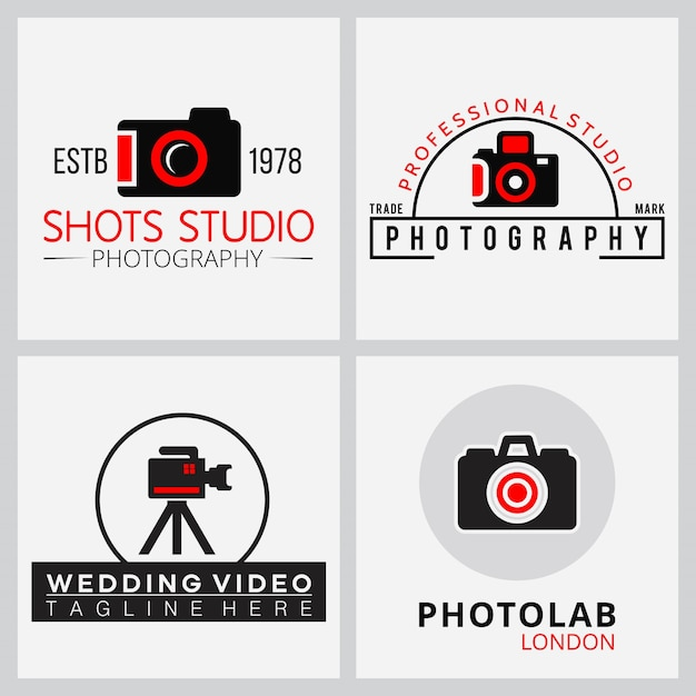 4 logos for photographers and filmmakers Free Vector