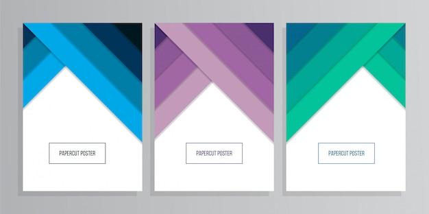 Набор цветной бумаги формата а4 геометрического фона в стиле papercut Premium векторы
